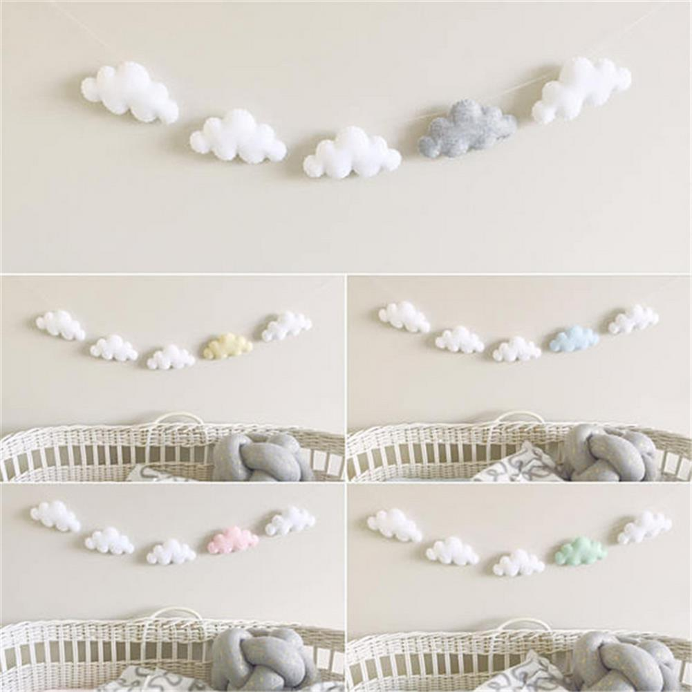 other-learning-office-supplies 5Pcs Simple Cloud Garland Ornament Nordic Style Crib Baby Bed Bell Bedroom Wall Hanging Home Decoration Gift HOB1789886 1