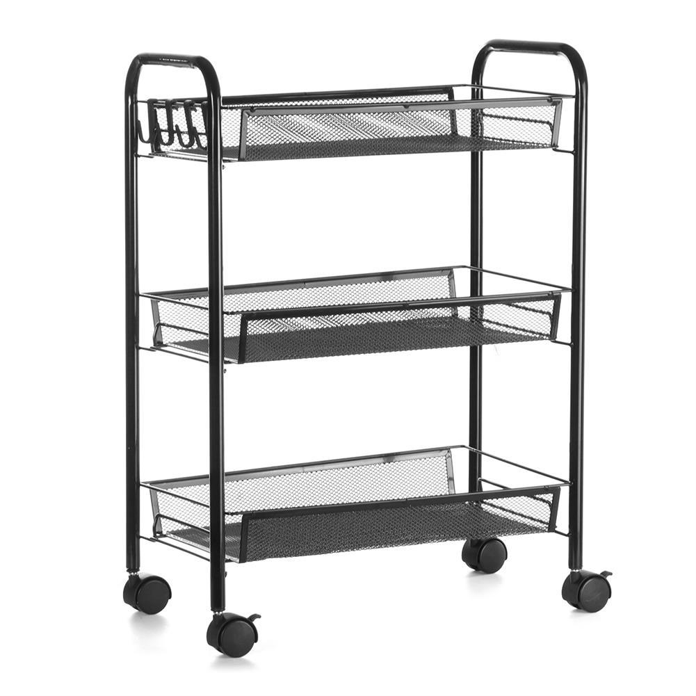 desktop-off-surface-shelves 3 Tiers Trolley Cart Kitchen Bathroom Storage Rack Tableware Bowls Dish Holder Fruit Vegetable Shelves office File Tray HOB1789936 3 1