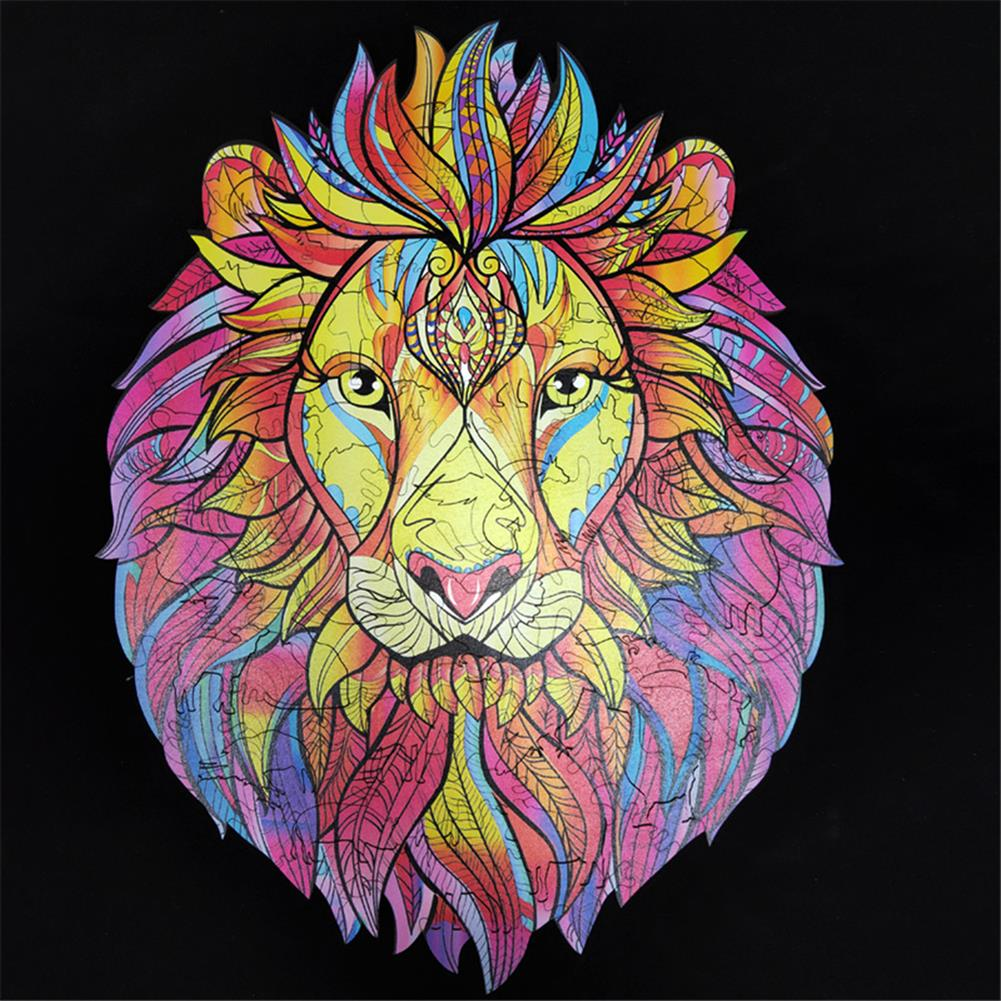 other-learning-office-supplies A3/A4/A5 Wooden Cartoon Lion Puzzle Colorful Mysterious Charming Early Education Toys Gifts for Childrens Adults Kids HOB1790269 1 1