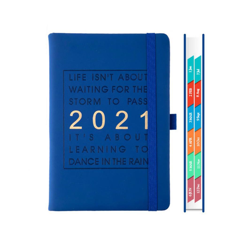 paper-notebooks A5 Agenda 2021 planner Notebook Jan-Dec English Language 164 Sheet PU Leather Soft Cover School Planner Business Schedule Journal HOB1790886 1