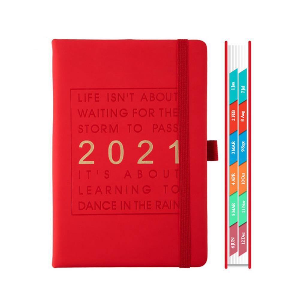 paper-notebooks A5 Agenda 2021 planner Notebook Jan-Dec English Language 164 Sheet PU Leather Soft Cover School Planner Business Schedule Journal HOB1790886 2 1