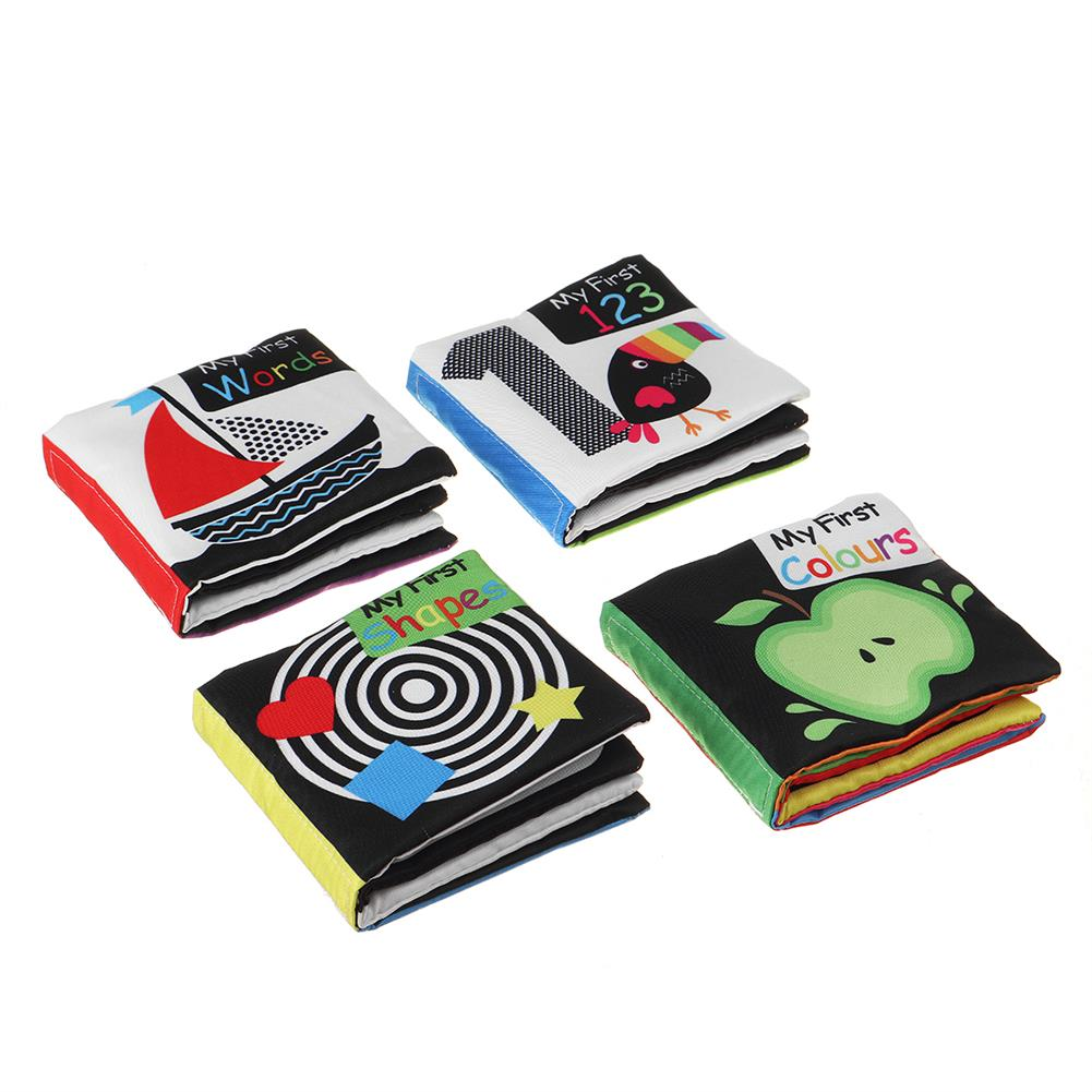 other-learning-office-supplies 4 packs Sound Paper English Cloth Book Black and White Enlightenment Words Colors Shapes Numbers Early Education Puzzle Toy HOB1791218 1 1