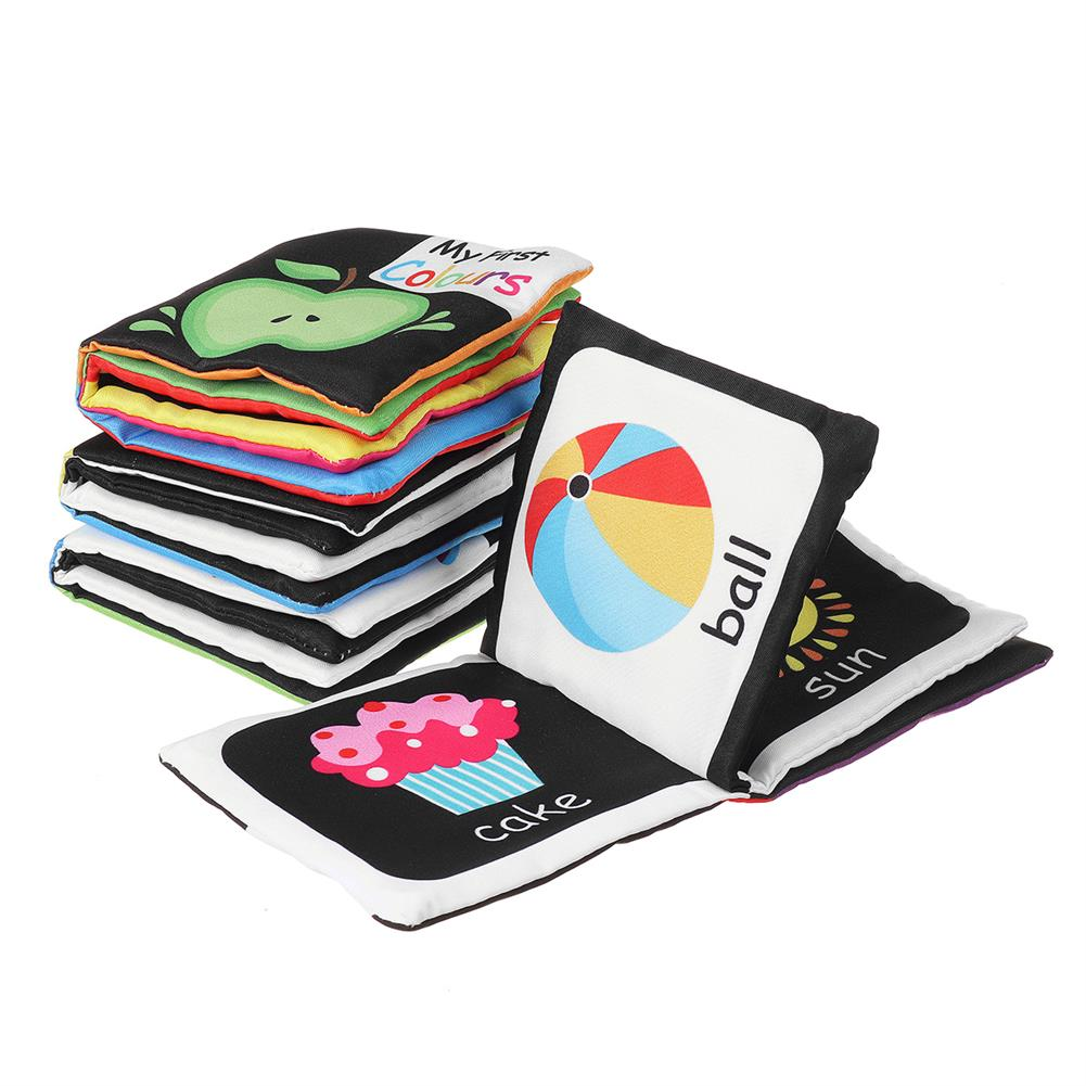 other-learning-office-supplies 4 packs Sound Paper English Cloth Book Black and White Enlightenment Words Colors Shapes Numbers Early Education Puzzle Toy HOB1791218 2 1