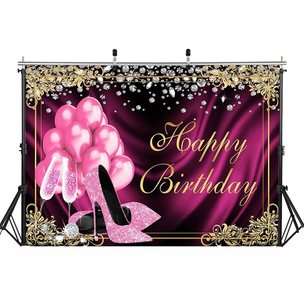 other-learning-office-supplies Glitter Adult Birthday Party Backdrop Pink Photography Balloons High Heels Pattern Table Background for Home Decoration Photo Booth Phootshoot Background HOB1791302 1
