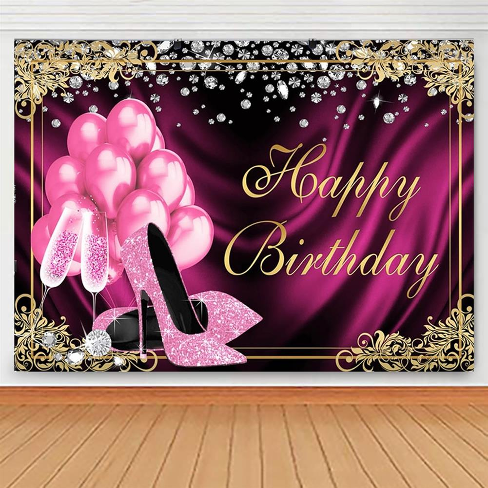 other-learning-office-supplies Glitter Adult Birthday Party Backdrop Pink Photography Balloons High Heels Pattern Table Background for Home Decoration Photo Booth Phootshoot Background HOB1791302 1 1