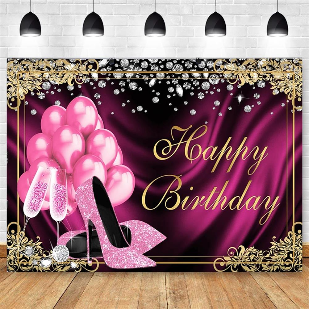 other-learning-office-supplies Glitter Adult Birthday Party Backdrop Pink Photography Balloons High Heels Pattern Table Background for Home Decoration Photo Booth Phootshoot Background HOB1791302 2 1
