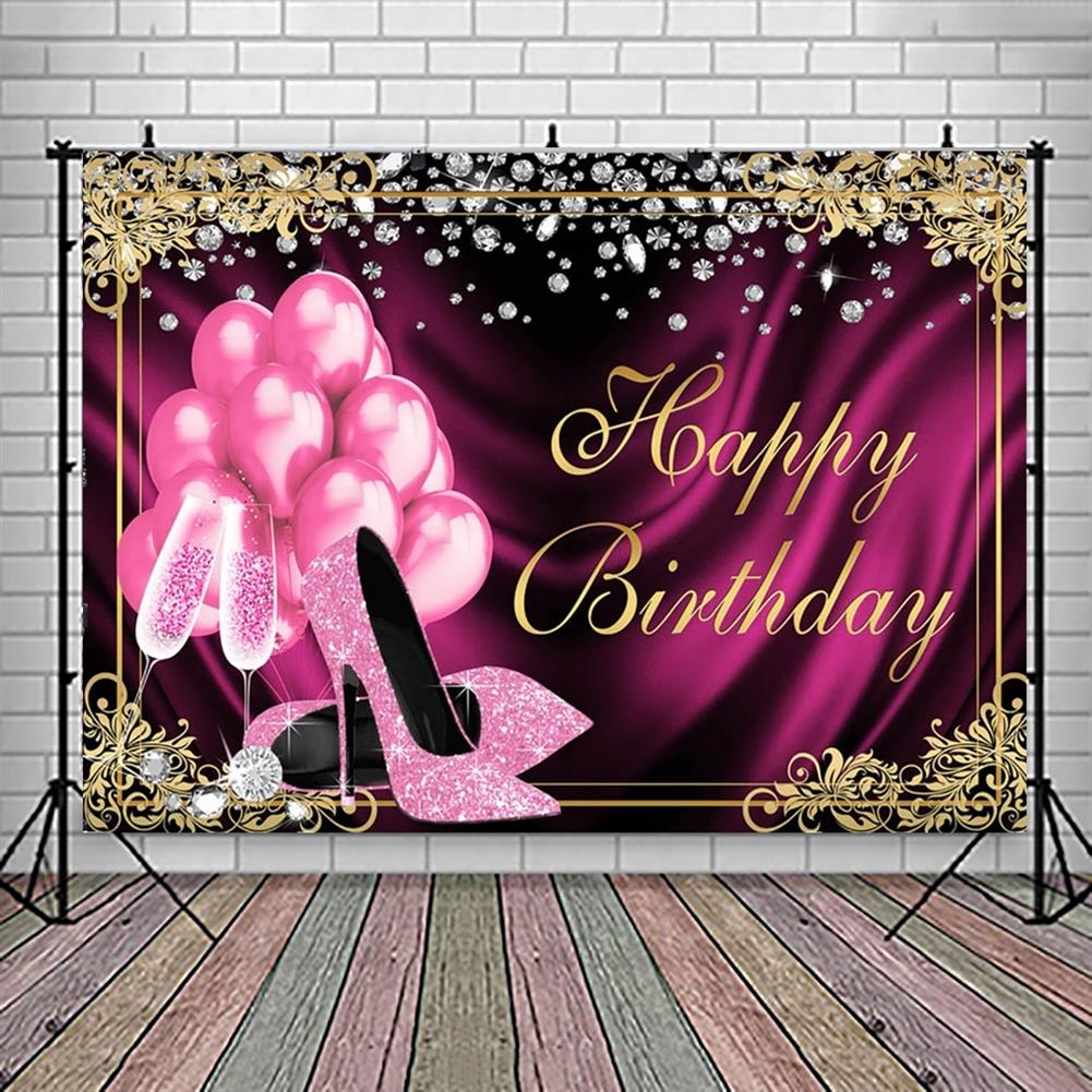 other-learning-office-supplies Glitter Adult Birthday Party Backdrop Pink Photography Balloons High Heels Pattern Table Background for Home Decoration Photo Booth Phootshoot Background HOB1791302 3 1