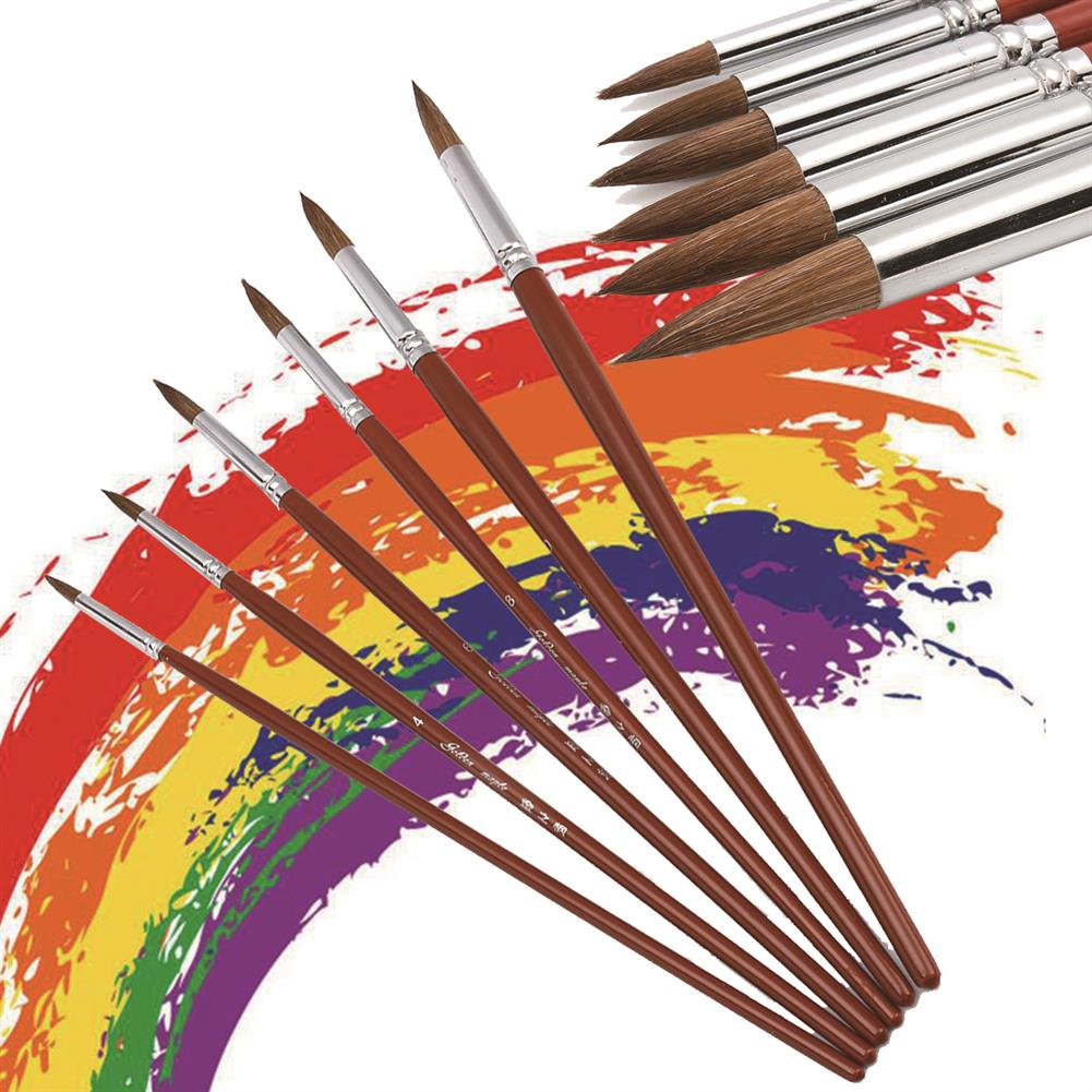 brush 6Pcs/set Paint Brushes Set Sable Hair Round Point Tip Professional Art Painting Brush Watercolor Acrylic ink Gouache Oil Tempera Painting Pens HOB1791825 1