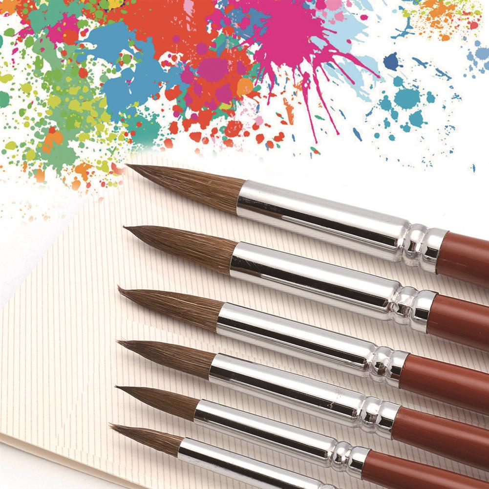 brush 6Pcs/set Paint Brushes Set Sable Hair Round Point Tip Professional Art Painting Brush Watercolor Acrylic ink Gouache Oil Tempera Painting Pens HOB1791825 1 1