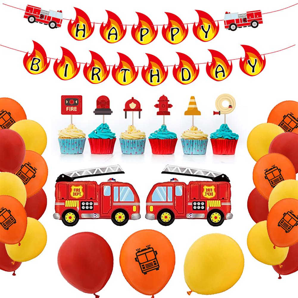 other-learning-office-supplies Balloon Banner Set Fire Truck Firefighter theme Balloon Set Birthday Party Banner Home Decoration HOB1791839 1