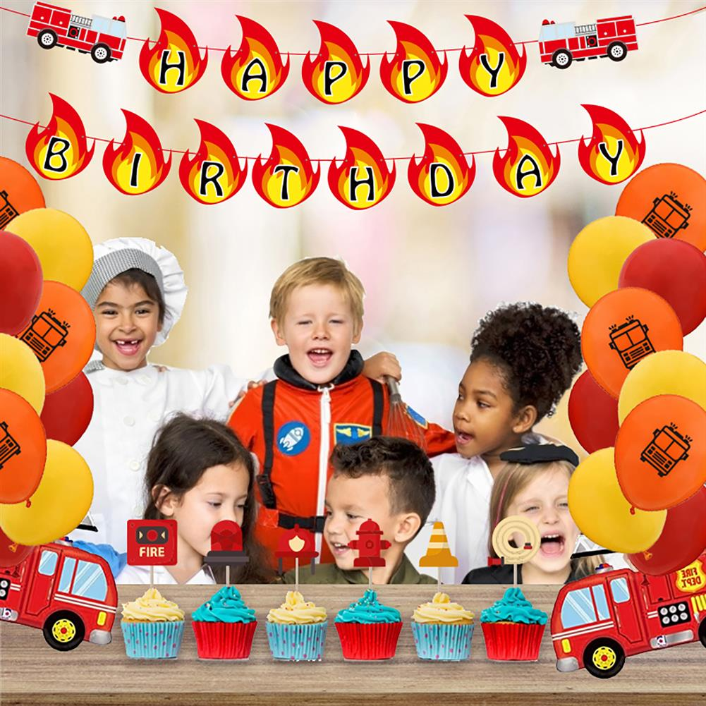 other-learning-office-supplies Balloon Banner Set Fire Truck Firefighter theme Balloon Set Birthday Party Banner Home Decoration HOB1791839 1 1
