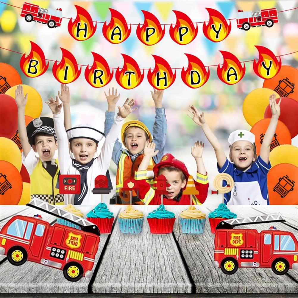 other-learning-office-supplies Balloon Banner Set Fire Truck Firefighter theme Balloon Set Birthday Party Banner Home Decoration HOB1791839 2 1