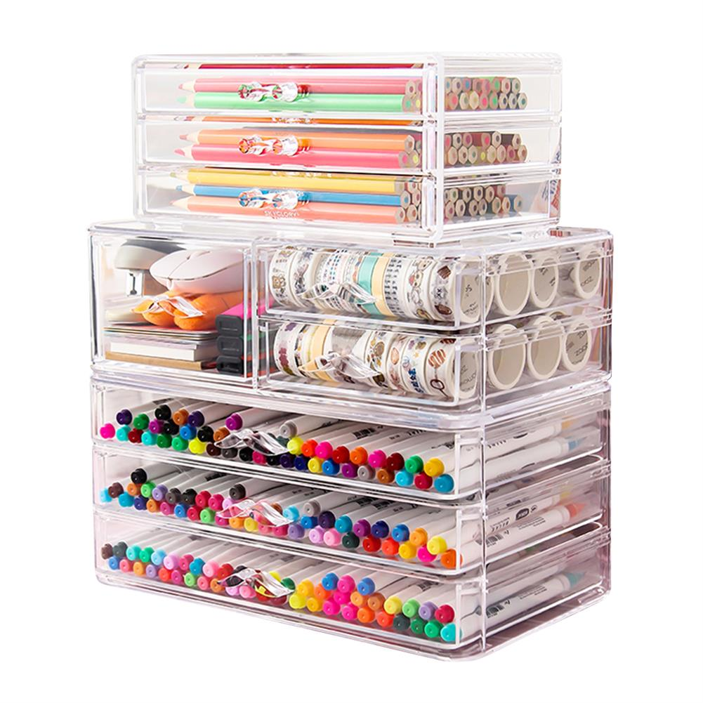 desktop-off-surface-shelves Multilayer Pencil Storage Box Creative Stationery Holder Drawer Jewelry Cosmetics Rack School office Desktop Organizer HOB1792314 1