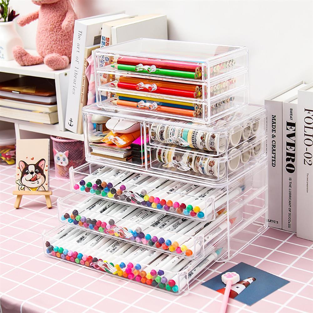 desktop-off-surface-shelves Multilayer Pencil Storage Box Creative Stationery Holder Drawer Jewelry Cosmetics Rack School office Desktop Organizer HOB1792314 3 1