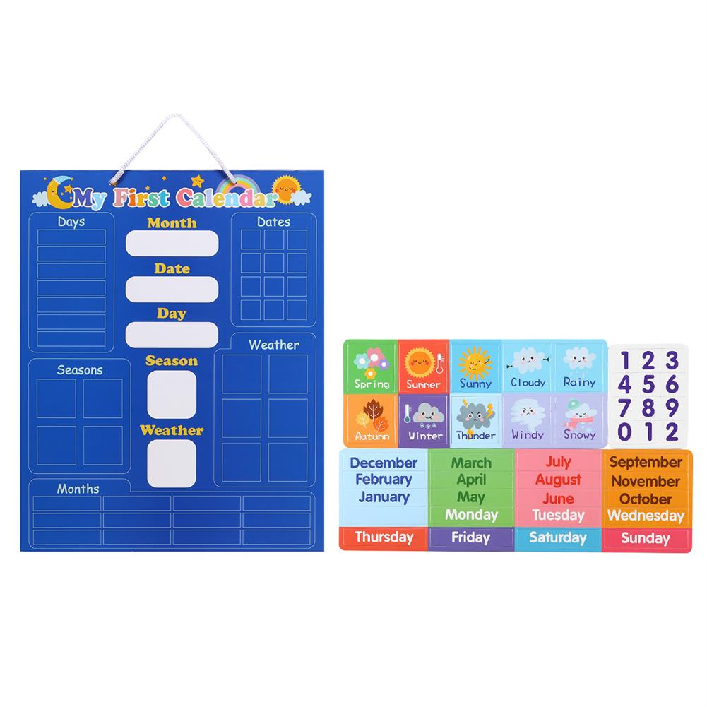 other-learning-office-supplies English Magnetic Weather Calendar Colors Awareness Toys Calendar Magic Sticker Early Education Puzzle Toy for Children HOB1792521 1