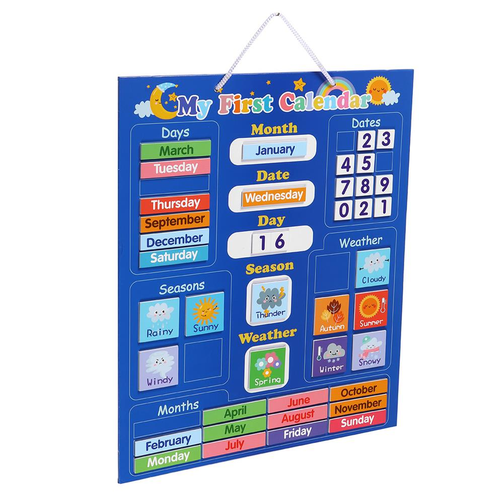 other-learning-office-supplies English Magnetic Weather Calendar Colors Awareness Toys Calendar Magic Sticker Early Education Puzzle Toy for Children HOB1792521 3 1