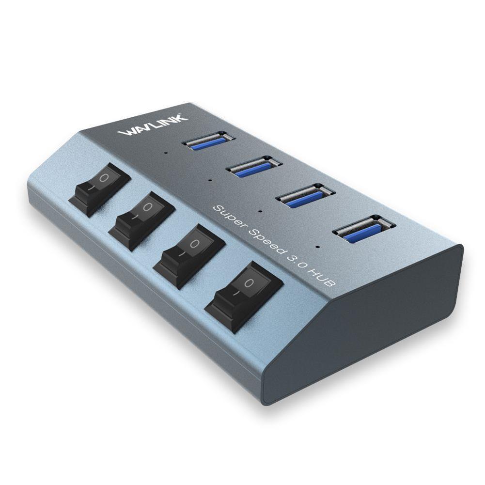 usb-hubs wavlink USB3.0 4 Port Hub Vertical USB Extender Splitter Super Speed 5Gbps Converter Aluminum with individual Power Switches UH3049 HOB1792571 2 1