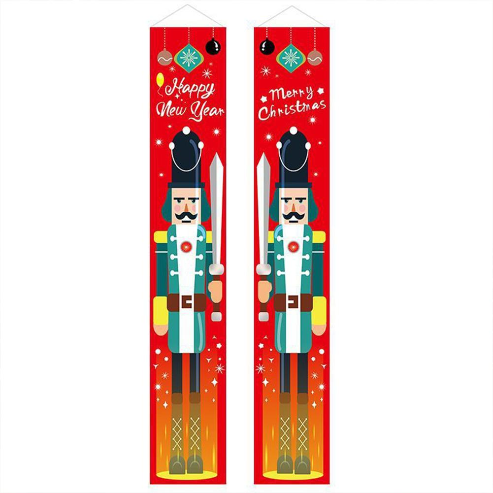 other-learning-office-supplies 1 Pair Christmas Banner Red Green Nutcracker Soldier Pattern Couplet for Christmas Door Decoration HOB1793375 1