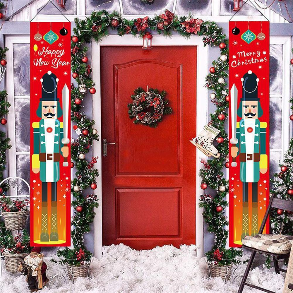other-learning-office-supplies 1 Pair Christmas Banner Red Green Nutcracker Soldier Pattern Couplet for Christmas Door Decoration HOB1793375 1 1