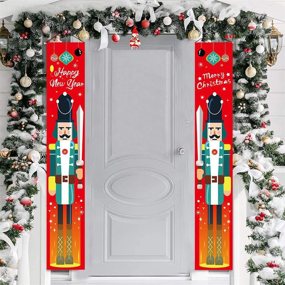 other-learning-office-supplies 1 Pair Christmas Banner Red Green Nutcracker Soldier Pattern Couplet for Christmas Door Decoration HOB1793375 2 1