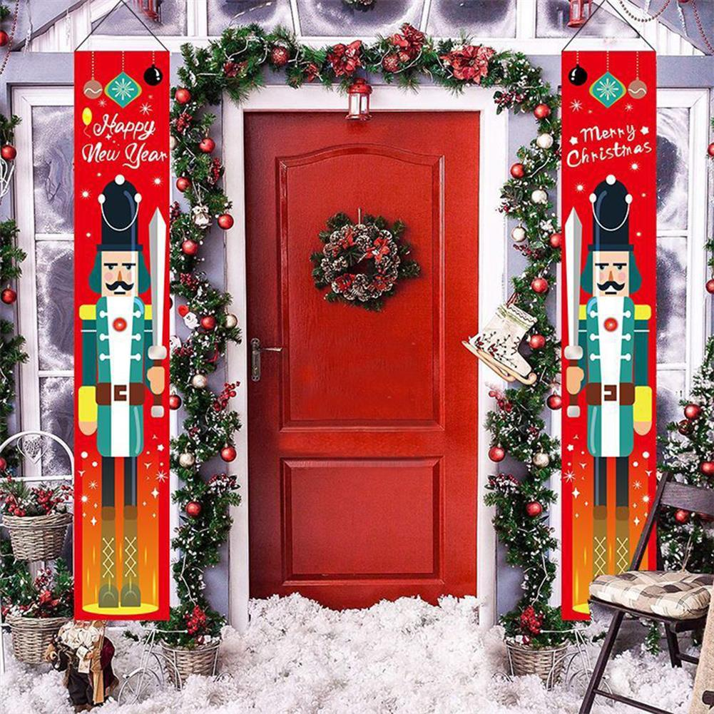 other-learning-office-supplies 1 Pair Christmas Banner Red Green Nutcracker Soldier Pattern Couplet for Christmas Door Decoration HOB1793375 3 1