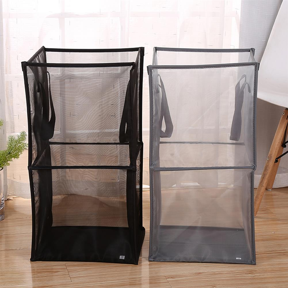other-learning-office-supplies Black/Gray Breathable Mesh Basket Foldable Single/ Double Layers Dirty Clothes Hamper Basket for Clothes Home Accessories Storage HOB1793584 3 1