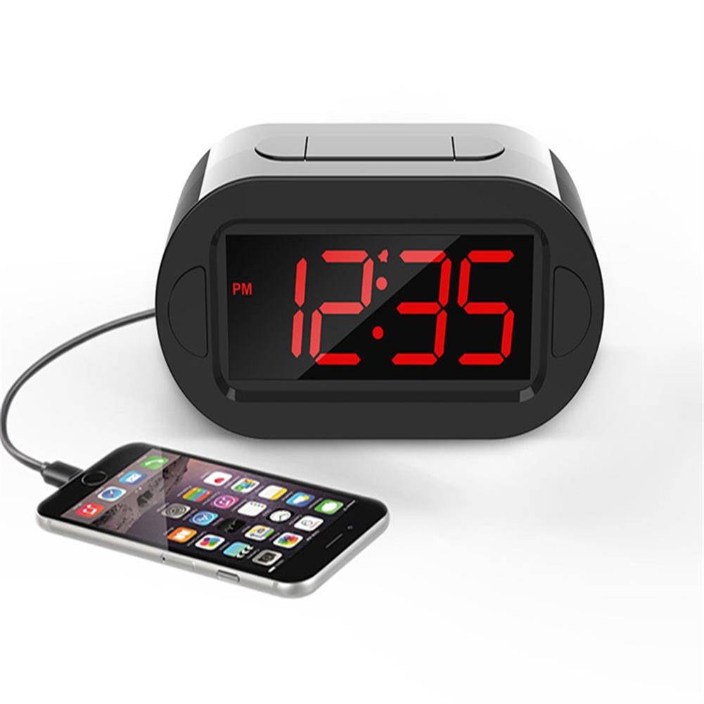 desktop-off-surface-shelves LED Electronic Alarm Clock Large Screen Digital Display Table Desktop Electronic Snooze Clocks USB Charging for Home office Use HOB1793814 1