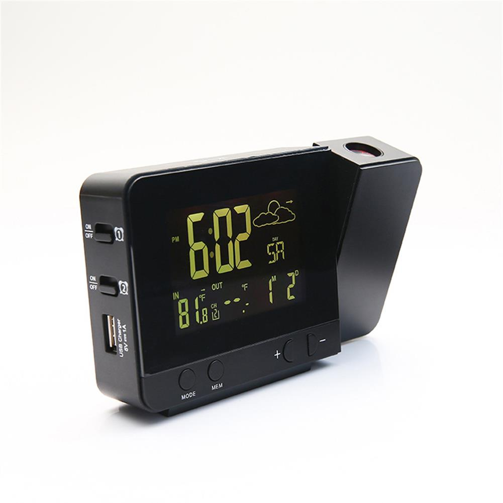 desktop-off-surface-shelves LCD Projection Alarm Clock indoor and Outdoor Weather Clock Multi function Temperature and Humidity Electronic Clock Ornament HOB1794139 2 1