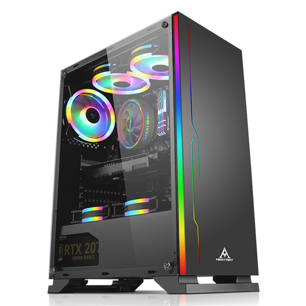 computer-cases-towers HESTART ATX Tower Gaming Case with Magnetic Design Dust FilterTransparent Acrylic Side Panel Adjustable I/O & Fully Ventilated Airflow HOB1794257 1 1