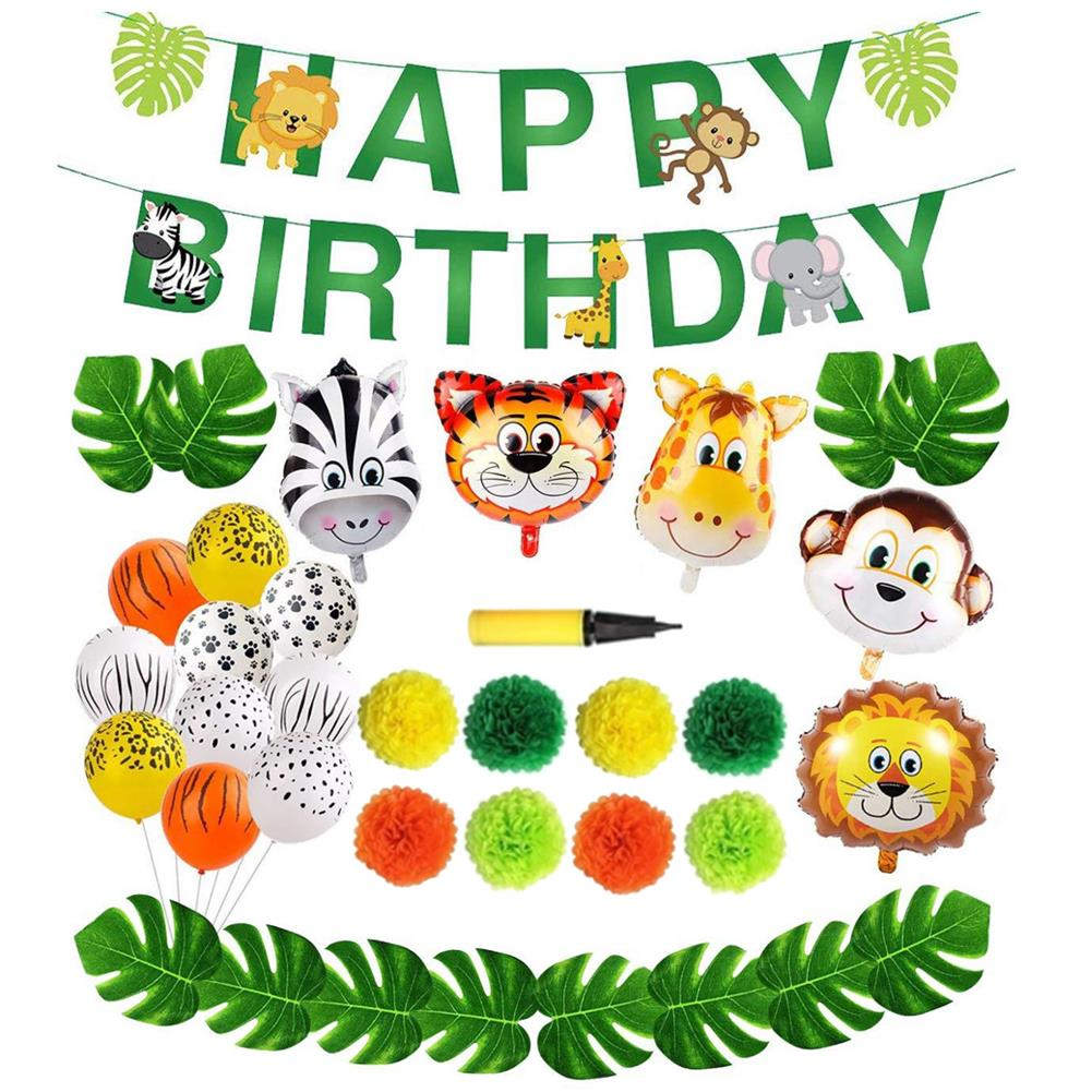 other-learning-office-supplies 97Pcs Jungle Party Birthday Balloons Decoration Set Banner Baby Shower Party Props Set for Home Garden Party Decoration HOB1794948 1