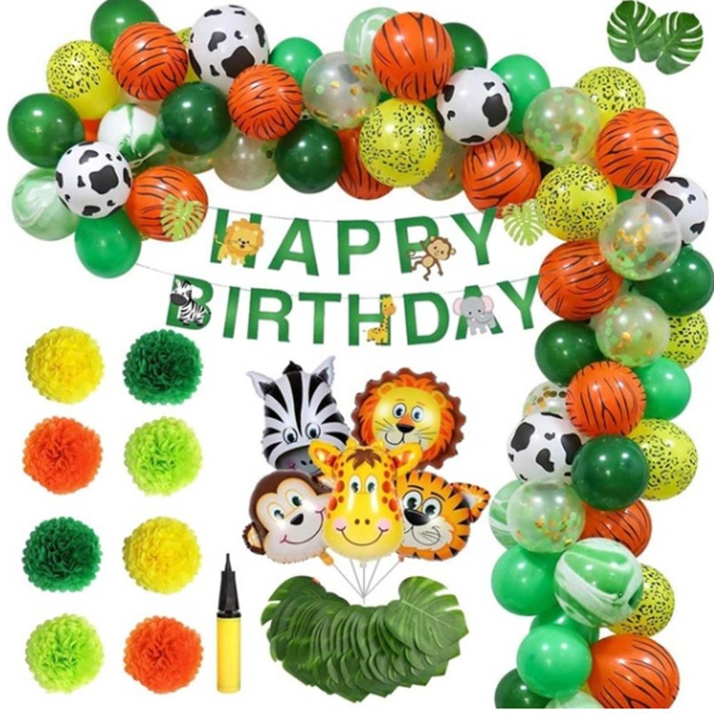 other-learning-office-supplies 97Pcs Jungle Party Birthday Balloons Decoration Set Banner Baby Shower Party Props Set for Home Garden Party Decoration HOB1794948 1 1
