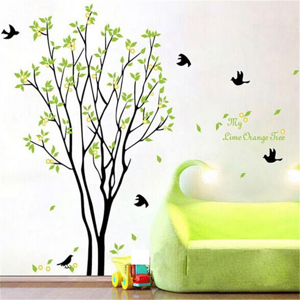 other-learning-office-supplies DIY Wall Sticker Bird Green Tree Wall Background Paper Waterproof Removeable Wallpaper Wall Decal Home office Decor HOB1794996 2 1