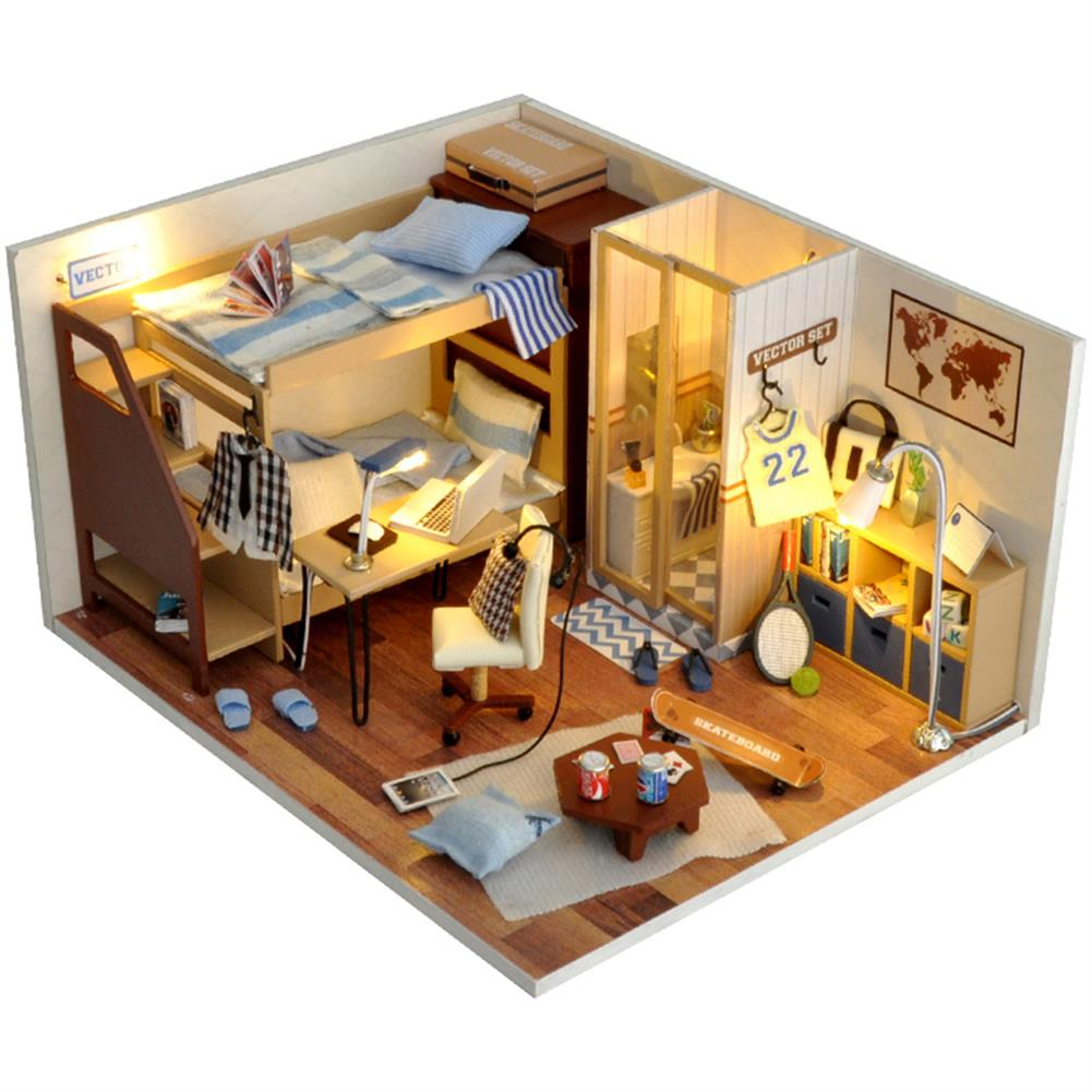 other-learning-office-supplies DIY Doll House Set Mini DIY LED Wooden Boy/Girl Dollhouse Miniature Wooden Furniture Set for Children Gift Home Decoration HOB1795015 1