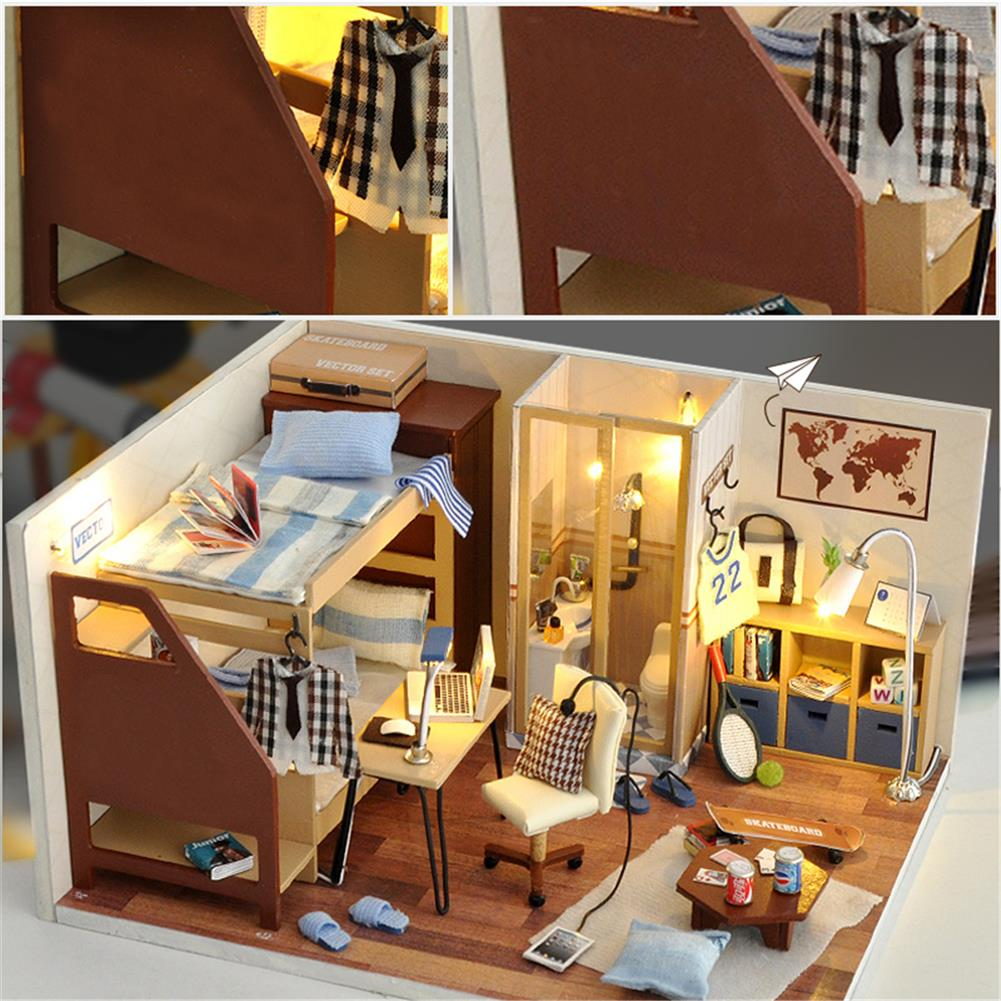 other-learning-office-supplies DIY Doll House Set Mini DIY LED Wooden Boy/Girl Dollhouse Miniature Wooden Furniture Set for Children Gift Home Decoration HOB1795015 1 1