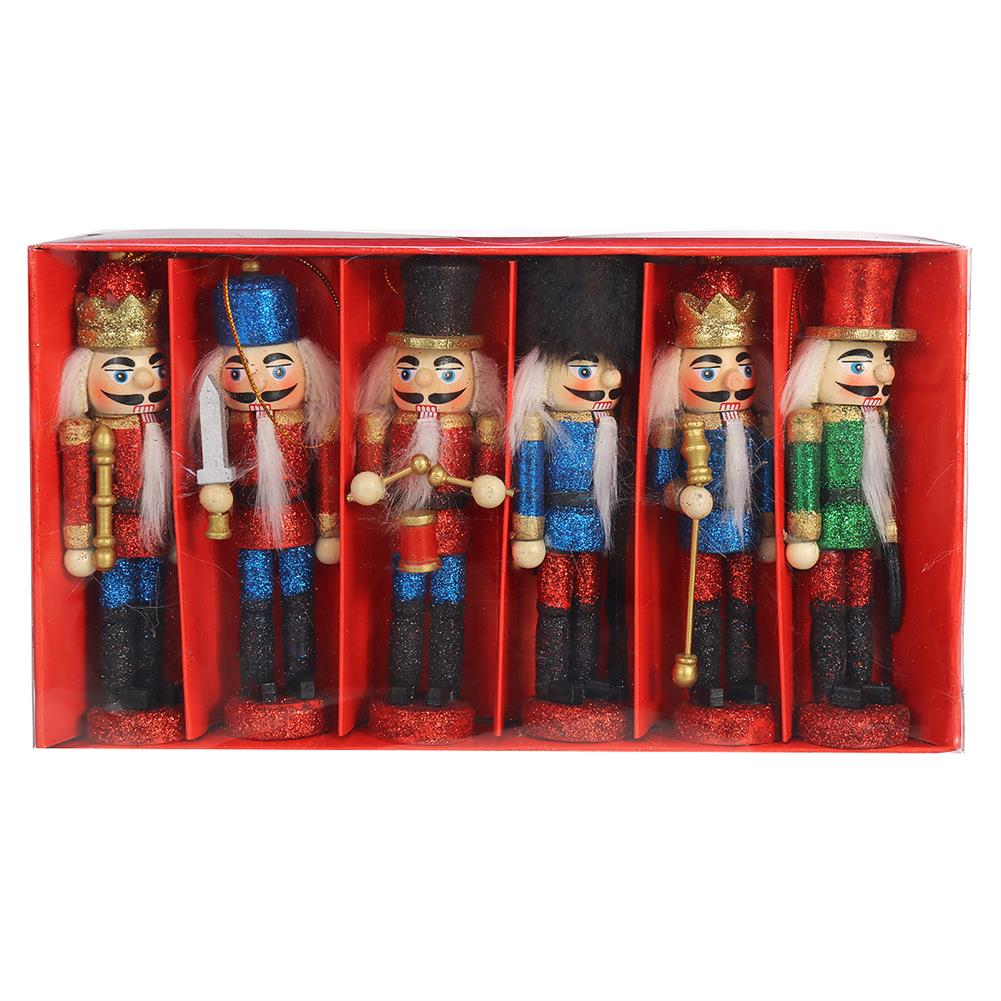 other-learning-office-supplies 6Pcs Nutcracker Doll Set 12.5cm 6-in-1 Creative Nutcracker Puppet for Christmas Home office Decoration Children Gift HOB1795041 1