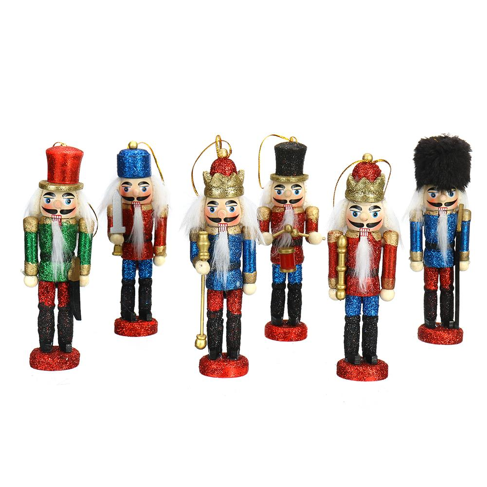 other-learning-office-supplies 6Pcs Nutcracker Doll Set 12.5cm 6-in-1 Creative Nutcracker Puppet for Christmas Home office Decoration Children Gift HOB1795041 3 1