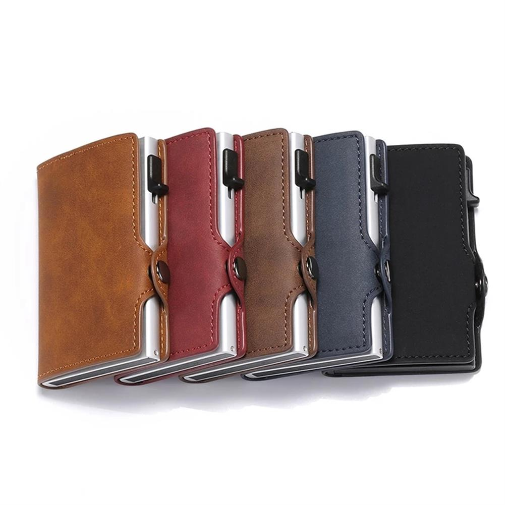 business-card-book Retro Leather Money Wallet Large Capacity Anti theft Credit Card Holder RFID Blocking Business Cash Pocket Gifts HOB1795355 1