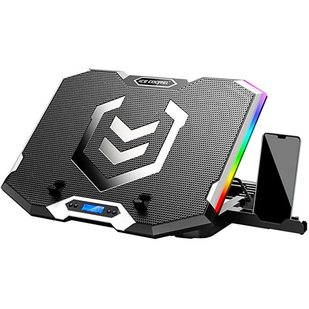 cooling-pads-stands ICE COOREL Gaming Laptop Cooler RGB Cooling Pad Radiator USB 6 Fans Computer Stand with Mobile Phone Holder for Under 21 Laptop HOB1795573 1