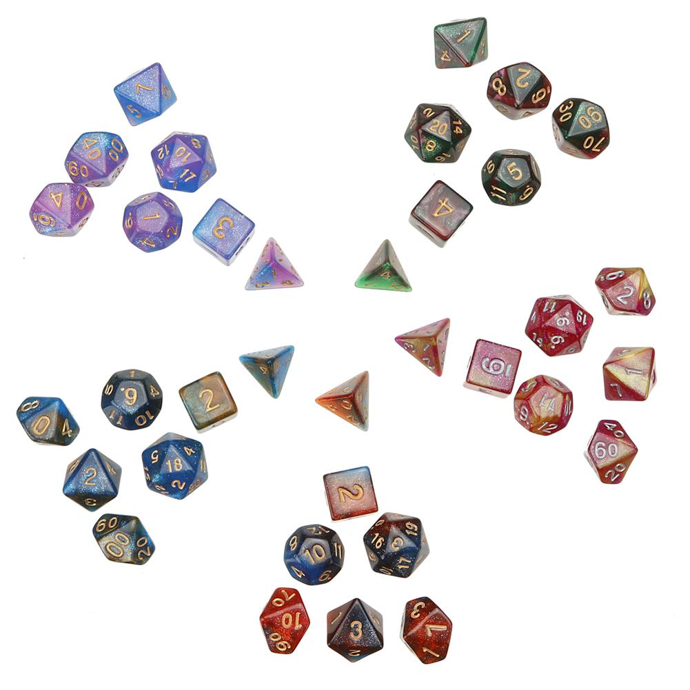 other-learning-office-supplies 35Pcs Acrylic Polyhedral Dice 7 Colors Various Shape Dice with Bags for DND RPG MTG Role Playing Board Game HOB1795685 1 1