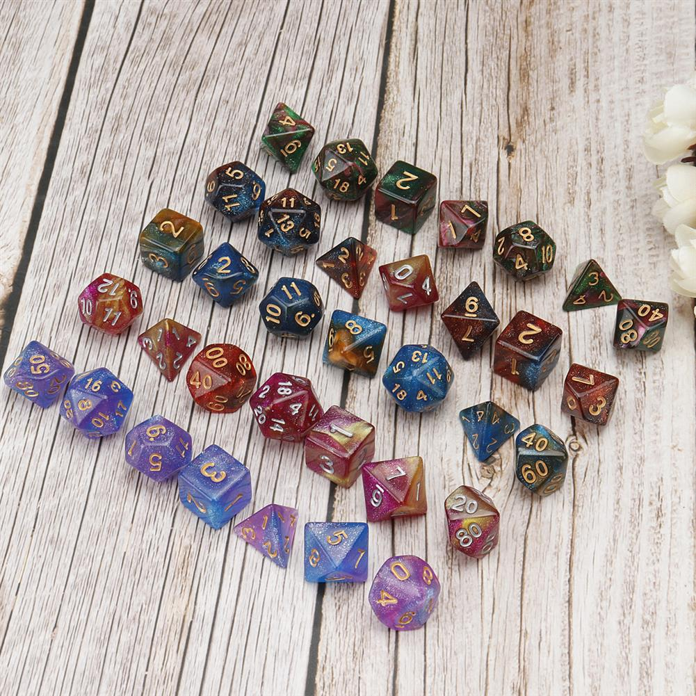 other-learning-office-supplies 35Pcs Acrylic Polyhedral Dice 7 Colors Various Shape Dice with Bags for DND RPG MTG Role Playing Board Game HOB1795685 3 1