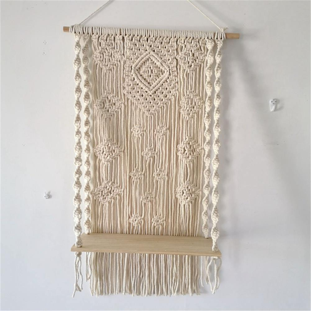 desktop-off-surface-shelves Wall Hanging Rack Macrame Knitted Rope Woven Tassel Wall Hanging Handmade Tapestry Display Stand Home office Decor HOB1795856 1