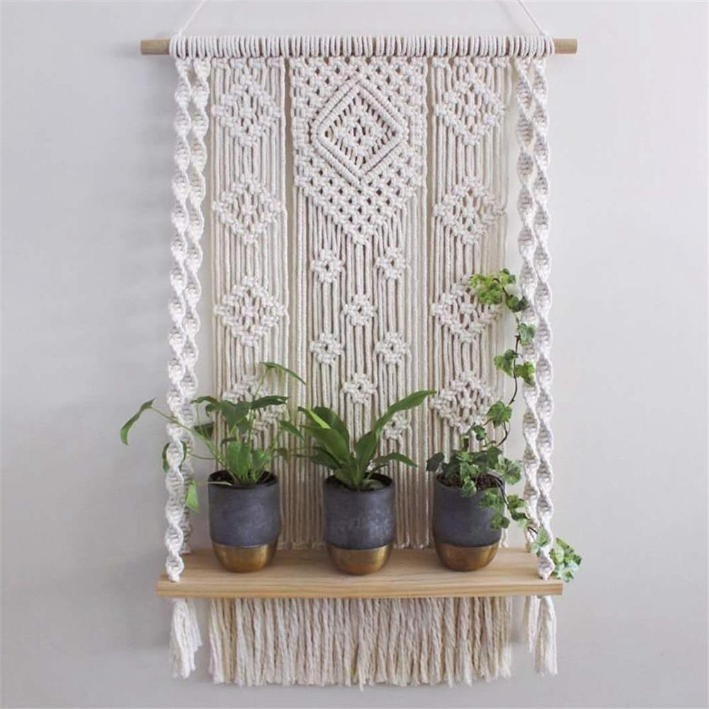 desktop-off-surface-shelves Wall Hanging Rack Macrame Knitted Rope Woven Tassel Wall Hanging Handmade Tapestry Display Stand Home office Decor HOB1795856 1 1