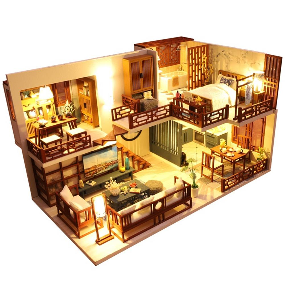 other-learning-office-supplies DIY Wooden Dollhouse Miniature Furniture Kit Puzzle 3-dimensional Model Assembly LED Light Kids Birthday Gift House HOB1795902 1