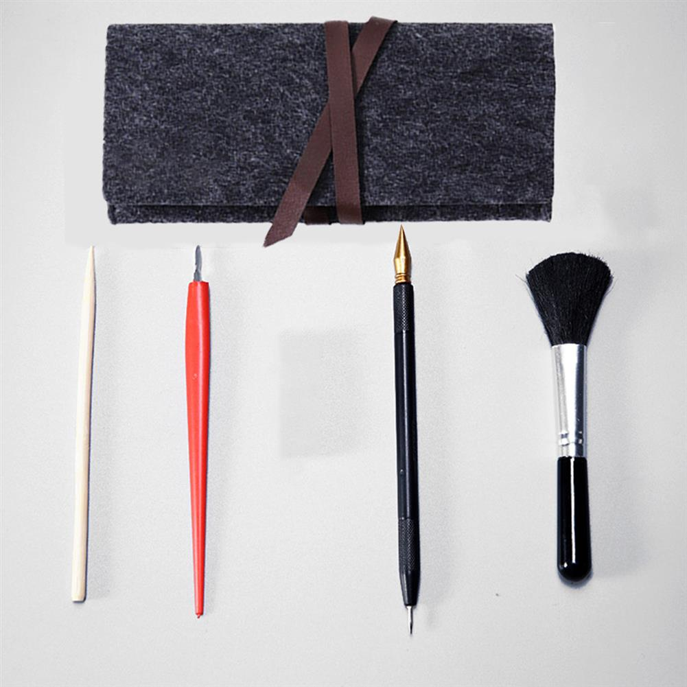 brush 5 in 1 Drawing Tools Set Scratch Pen Brush Wooden Pen Red Scraper with Storage Bag HOB1795951 1 1