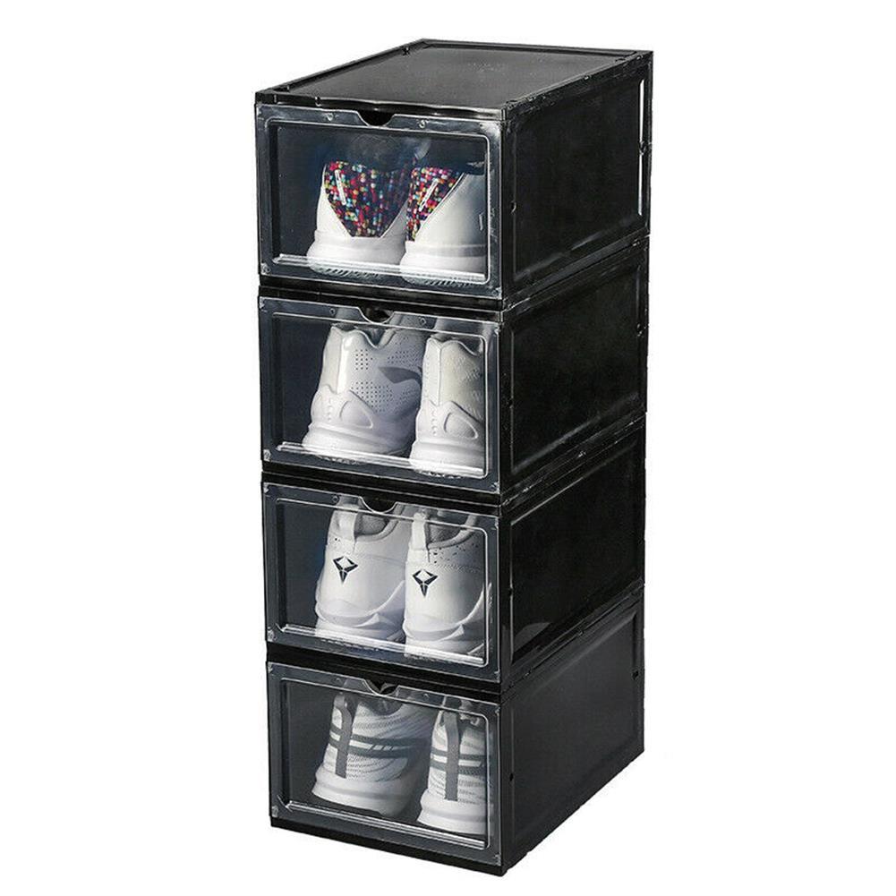 desktop-off-surface-shelves 1 Piece Plastic Shoe Box Thicken PP Filp Cover Shoes Storage Racks Stackable Shoes Organizer Drawer Sneaker Shoes Case HOB1796022 1