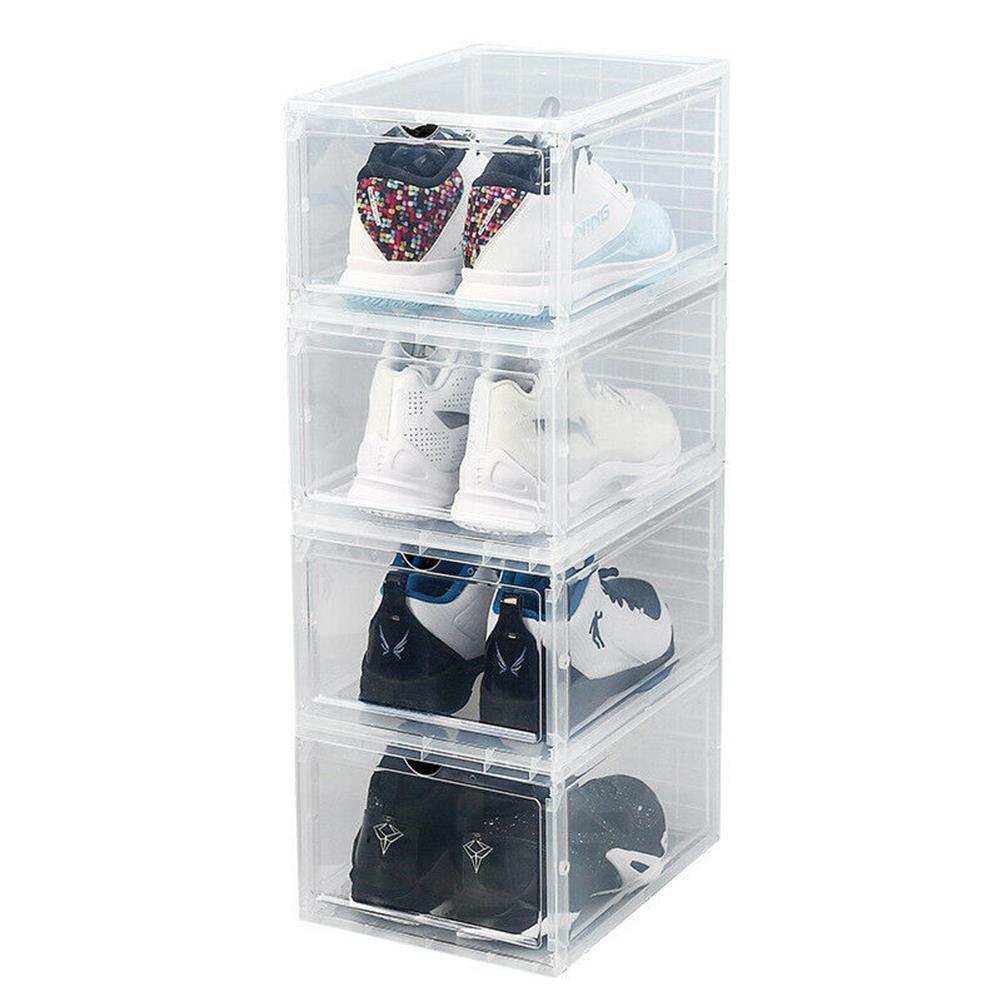 desktop-off-surface-shelves 1 Piece Plastic Shoe Box Thicken PP Filp Cover Shoes Storage Racks Stackable Shoes Organizer Drawer Sneaker Shoes Case HOB1796022 1 1