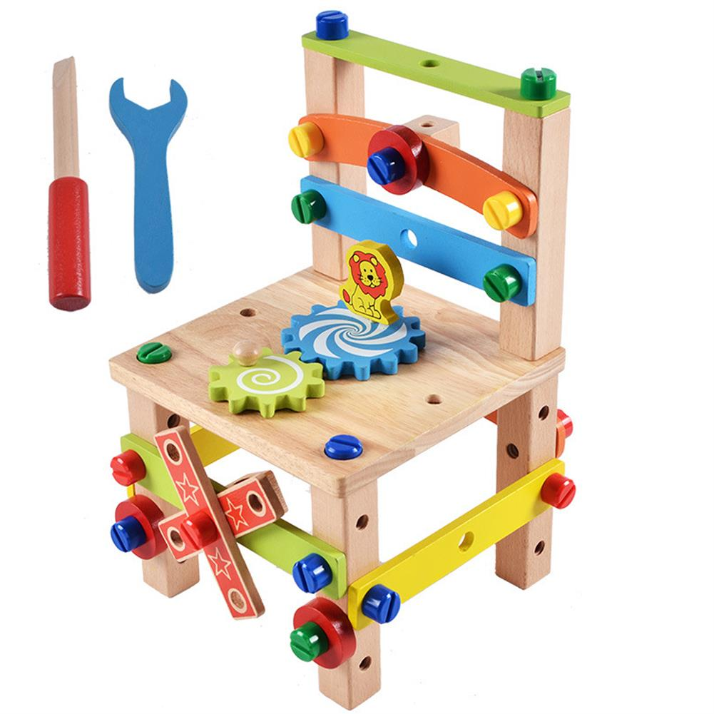 other-learning-office-supplies DIY Assembly Tool Chair Creative Toy Multifunction Nut Disassembly Combination Toy Wooden Chair Parent-child interactive Supplies HOB1796195 1