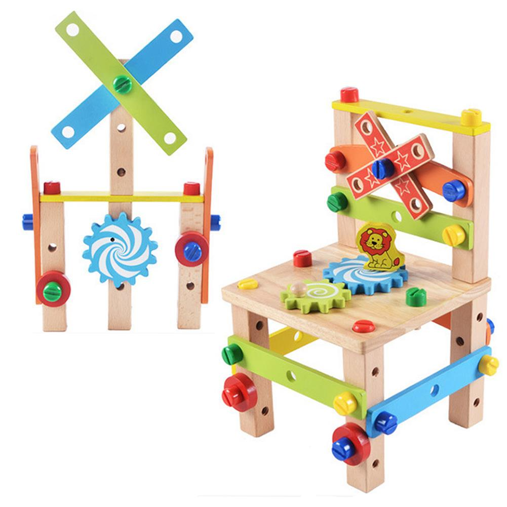 other-learning-office-supplies DIY Assembly Tool Chair Creative Toy Multifunction Nut Disassembly Combination Toy Wooden Chair Parent-child interactive Supplies HOB1796195 1 1