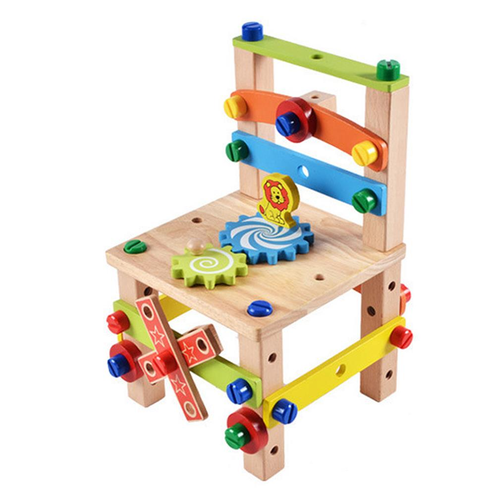 other-learning-office-supplies DIY Assembly Tool Chair Creative Toy Multifunction Nut Disassembly Combination Toy Wooden Chair Parent-child interactive Supplies HOB1796195 2 1