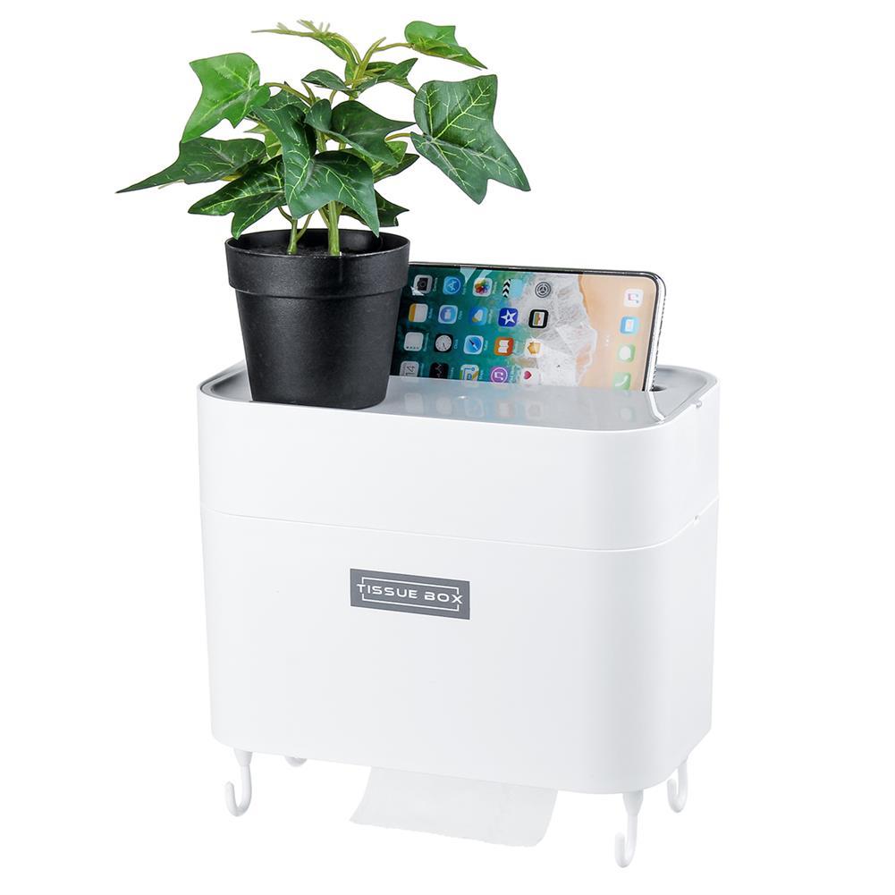 desktop-off-surface-shelves 4 Hooks Toilet Tissue Box Paper Napkin Holder Case Punch-Free Wall Mounted HOB1796869 1